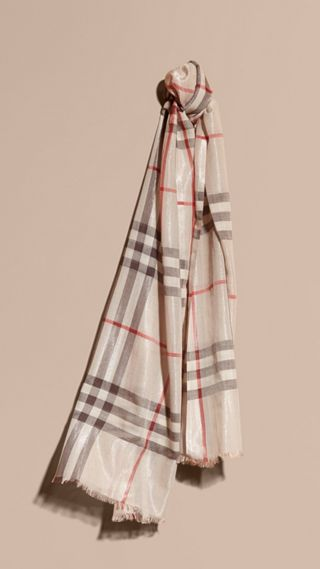 Metallic Check Silk and Wool Scarf