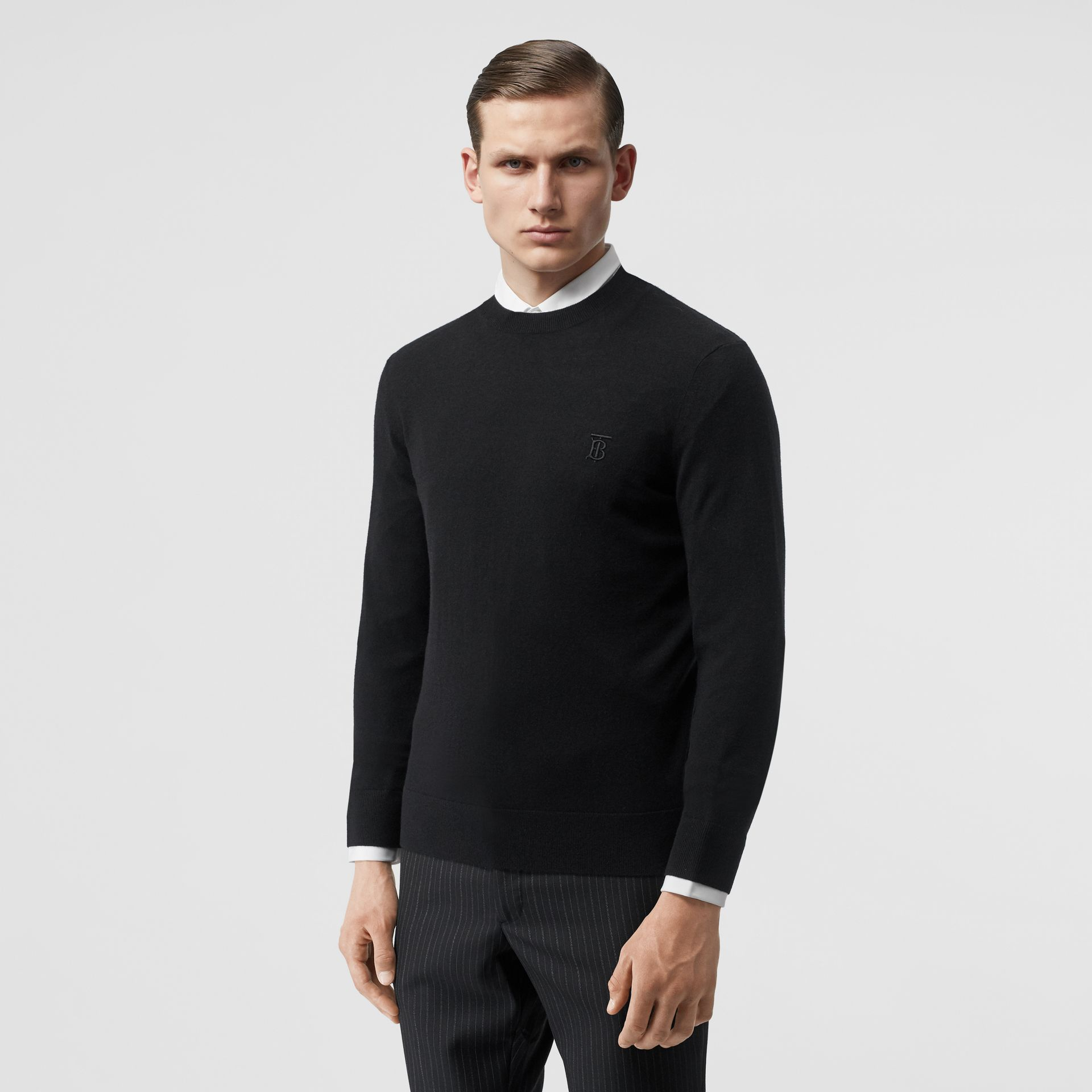 Monogram Motif Cashmere Sweater in Black - Men | Burberry - gallery image 0