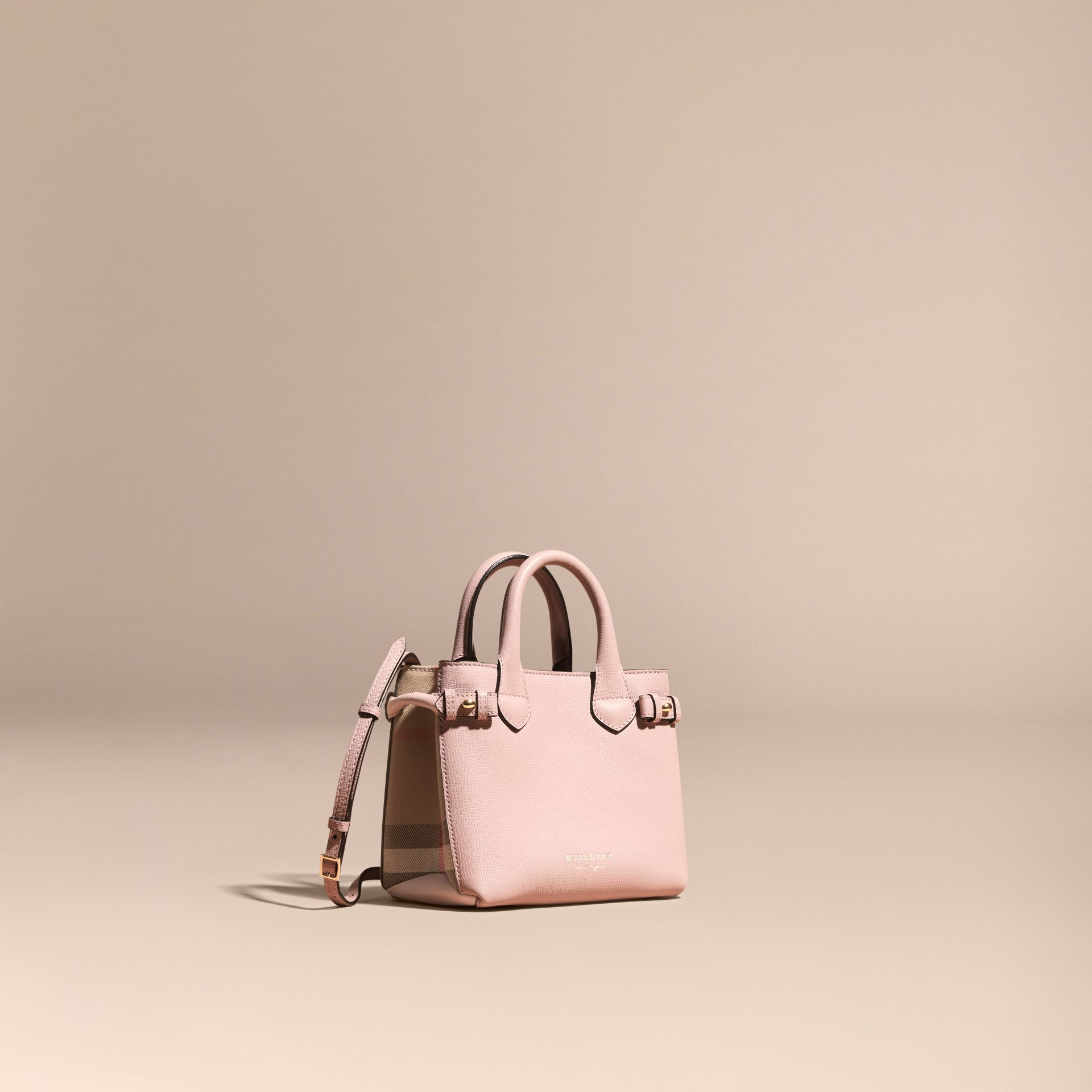 The Baby Banner in Leather and House Check in Pale Orchid - Women | Burberry - gallery image 1