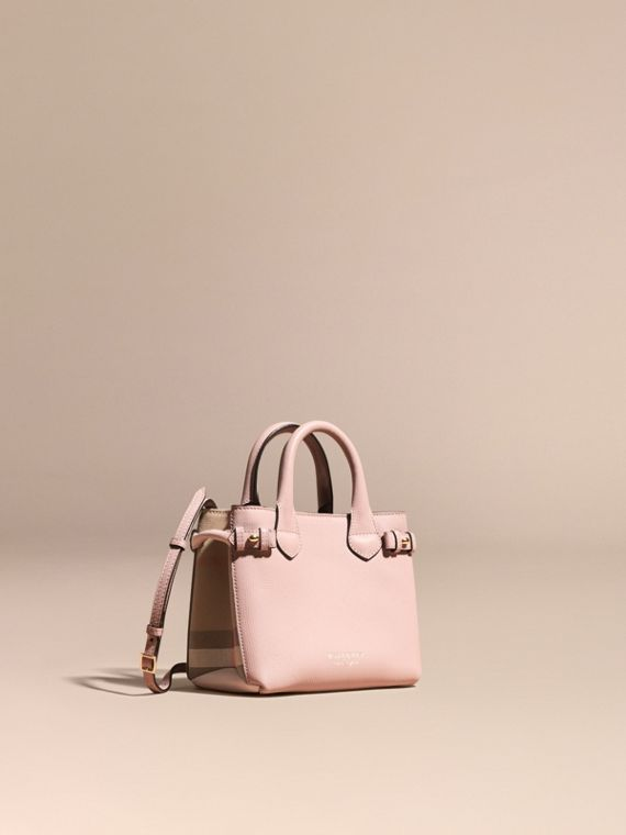 The Baby Banner in Leather and House Check in Pale Orchid - Women | Burberry Australia