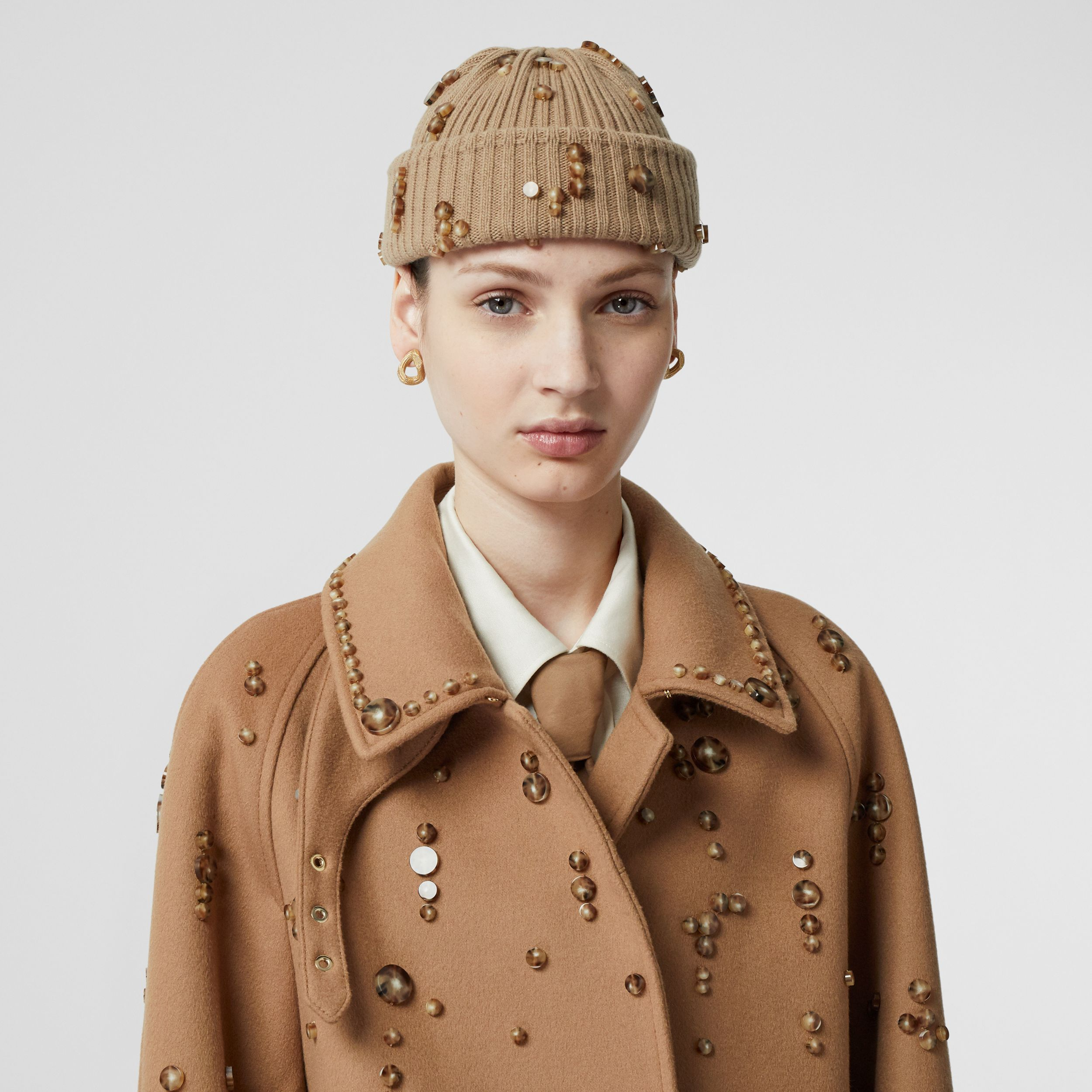 Embellished Wool Cashmere Car Coat in Camel - Women | Burberry - 2