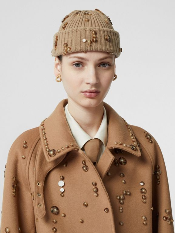 Embellished Wool Cashmere Car Coat in Camel - Women | Burberry Singapore - cell image 1