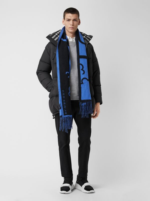 London Street Art Wool Cashmere Jacquard Scarf in Indigo Blue | Burberry - cell image 3