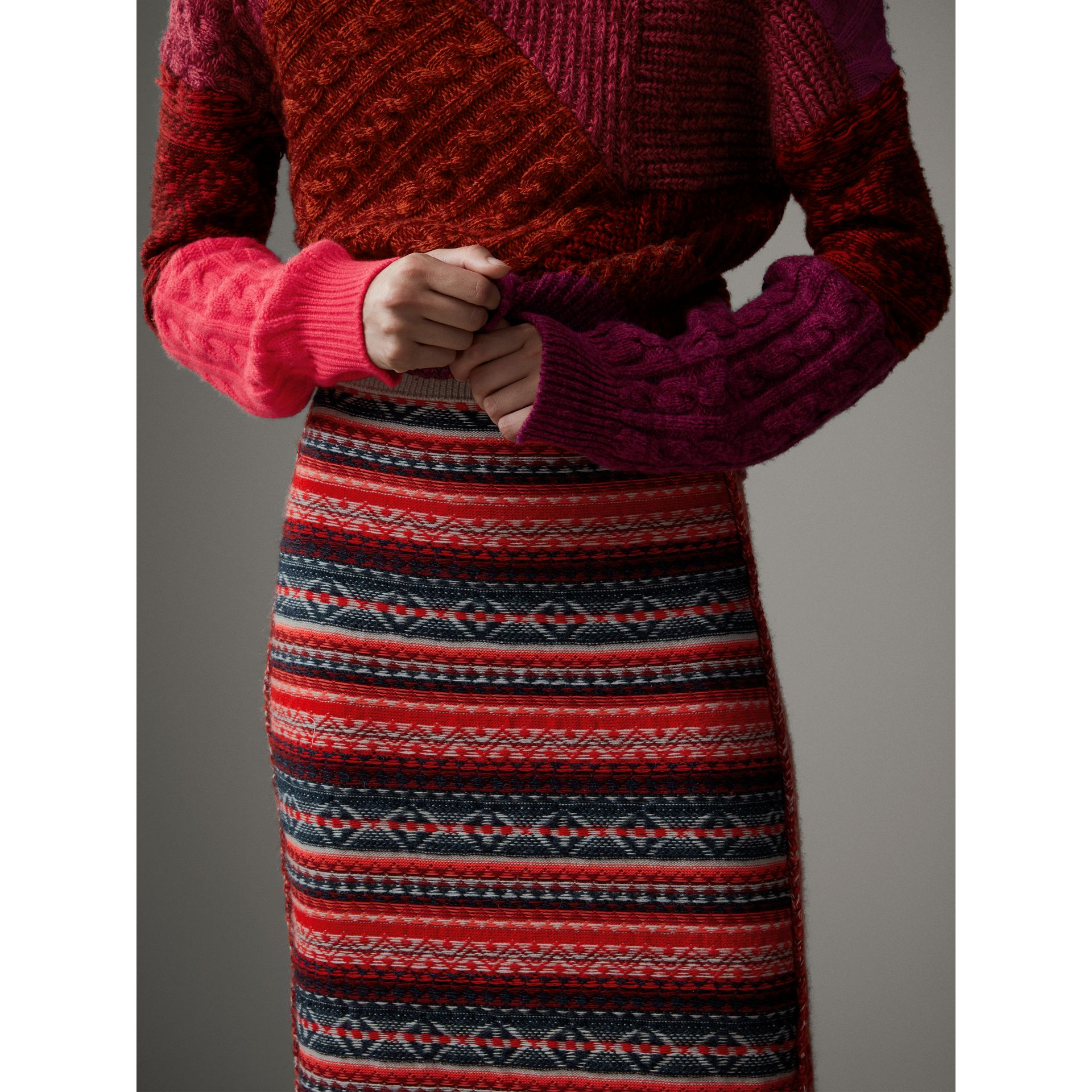 Fair Isle and Cable Knit Wool Cashmere Blend Skirt in Multicolour - Women | Burberry Hong Kong - gallery image 1