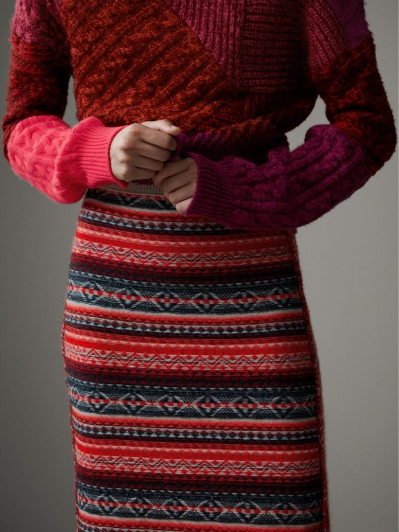 Fair Isle and Cable Knit Wool Cashmere Blend Skirt in Multicolour - Women | Burberry - cell image 1