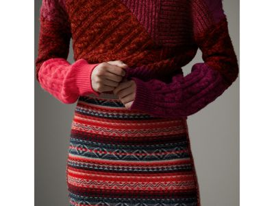 Fair Isle and Cable Knit Wool Cashmere Blend Skirt in Multicolour ...