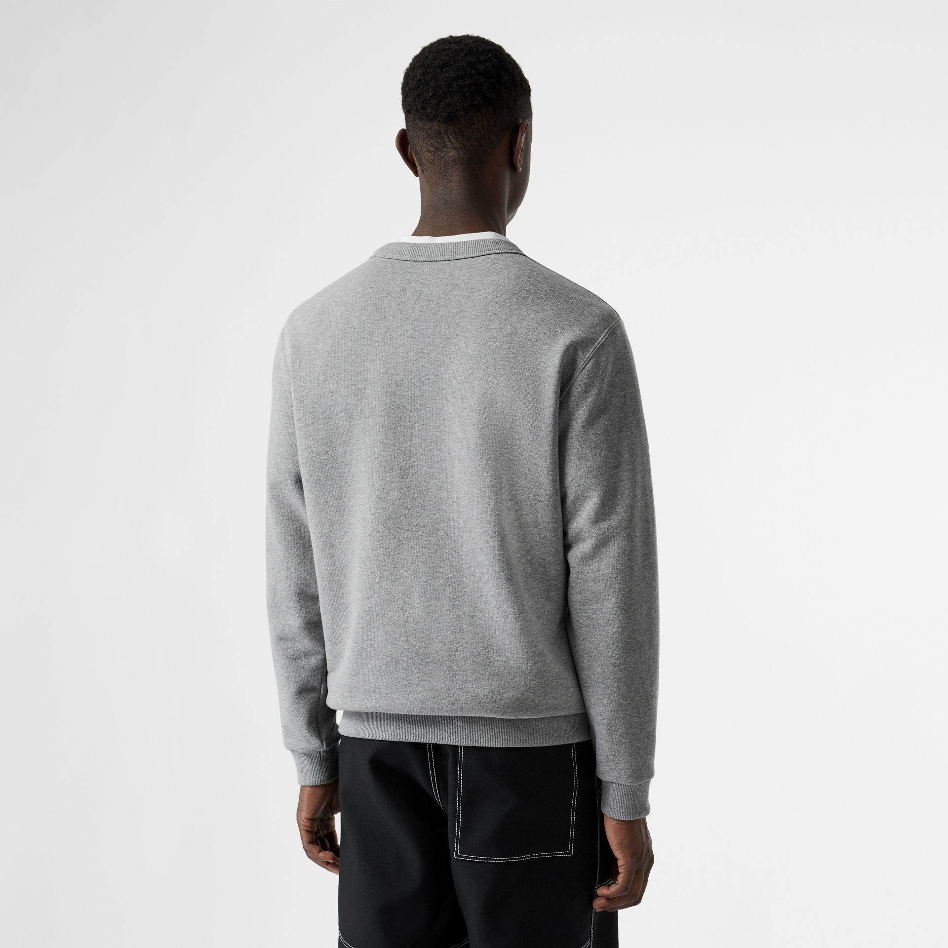 Cut-out Detail Cotton Sweatshirt in Pale Grey Melange - Men | Burberry - gallery image 2