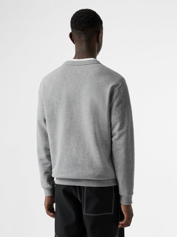 Cut-out Detail Cotton Sweatshirt in Pale Grey Melange - Men | Burberry - cell image 2