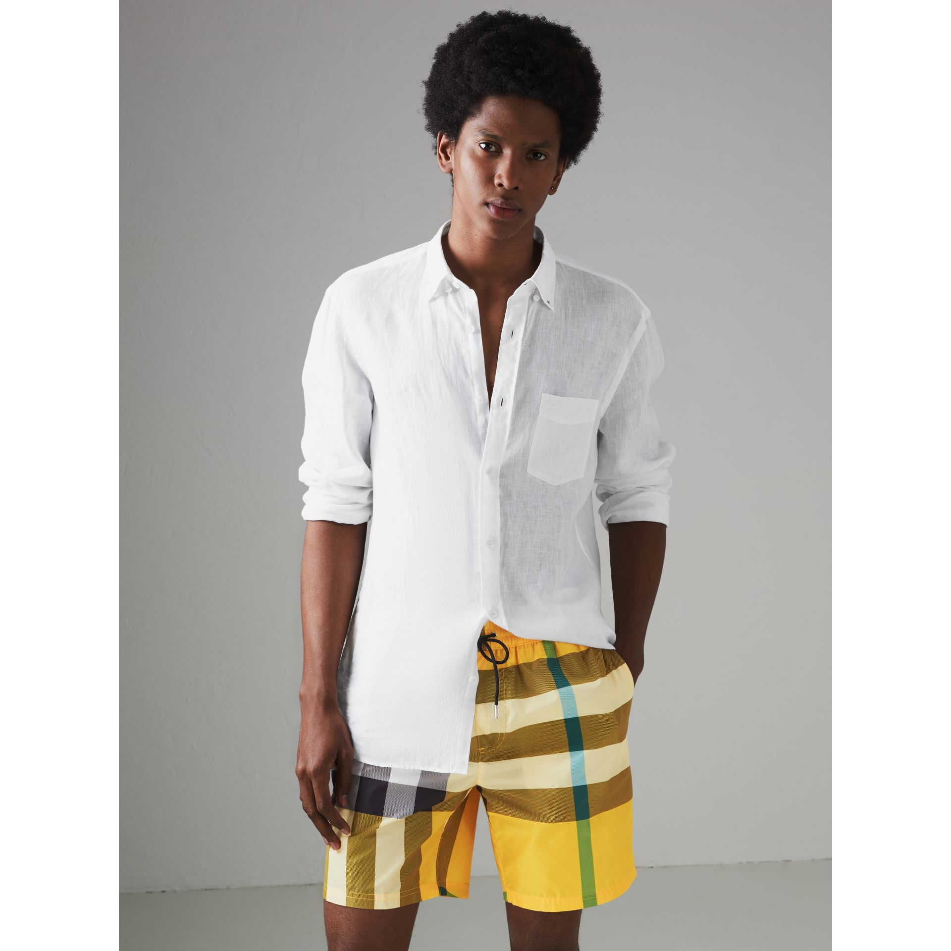 Check Drawcord Swim Shorts in Bright Yellow - Men | Burberry - gallery image 2
