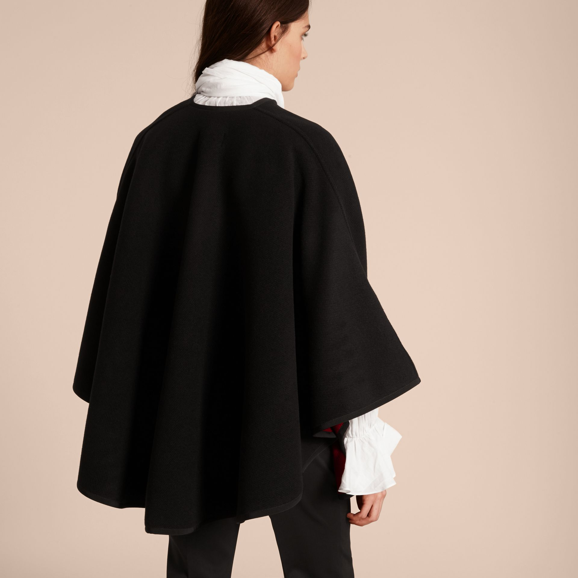 Wool Cashmere Military Cape in Black/parade Red - gallery image 3