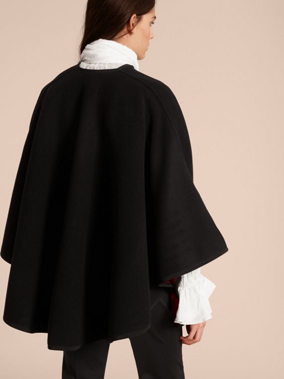 Wool Cashmere Military Cape in Black/parade Red - cell image 2