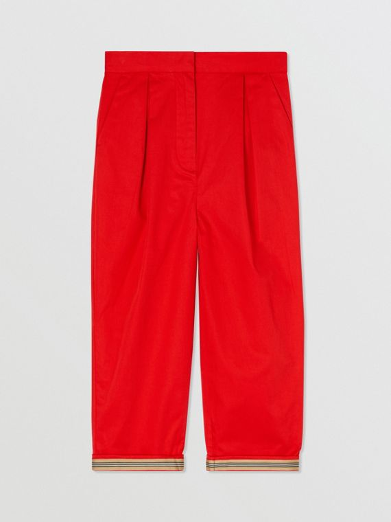 Cotton Twill Tapered Trousers in Bright Red