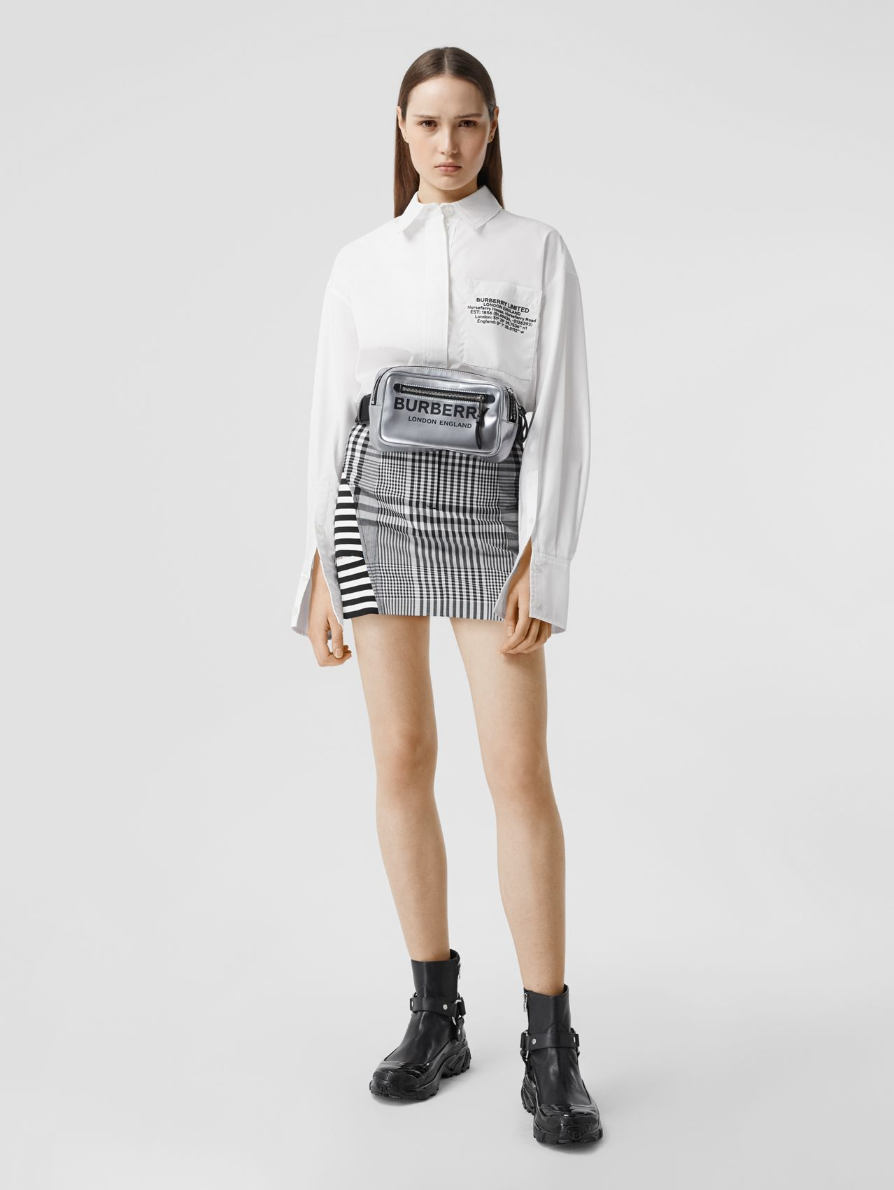 Location Print Cotton Poplin Oversized Shirt in Optic White