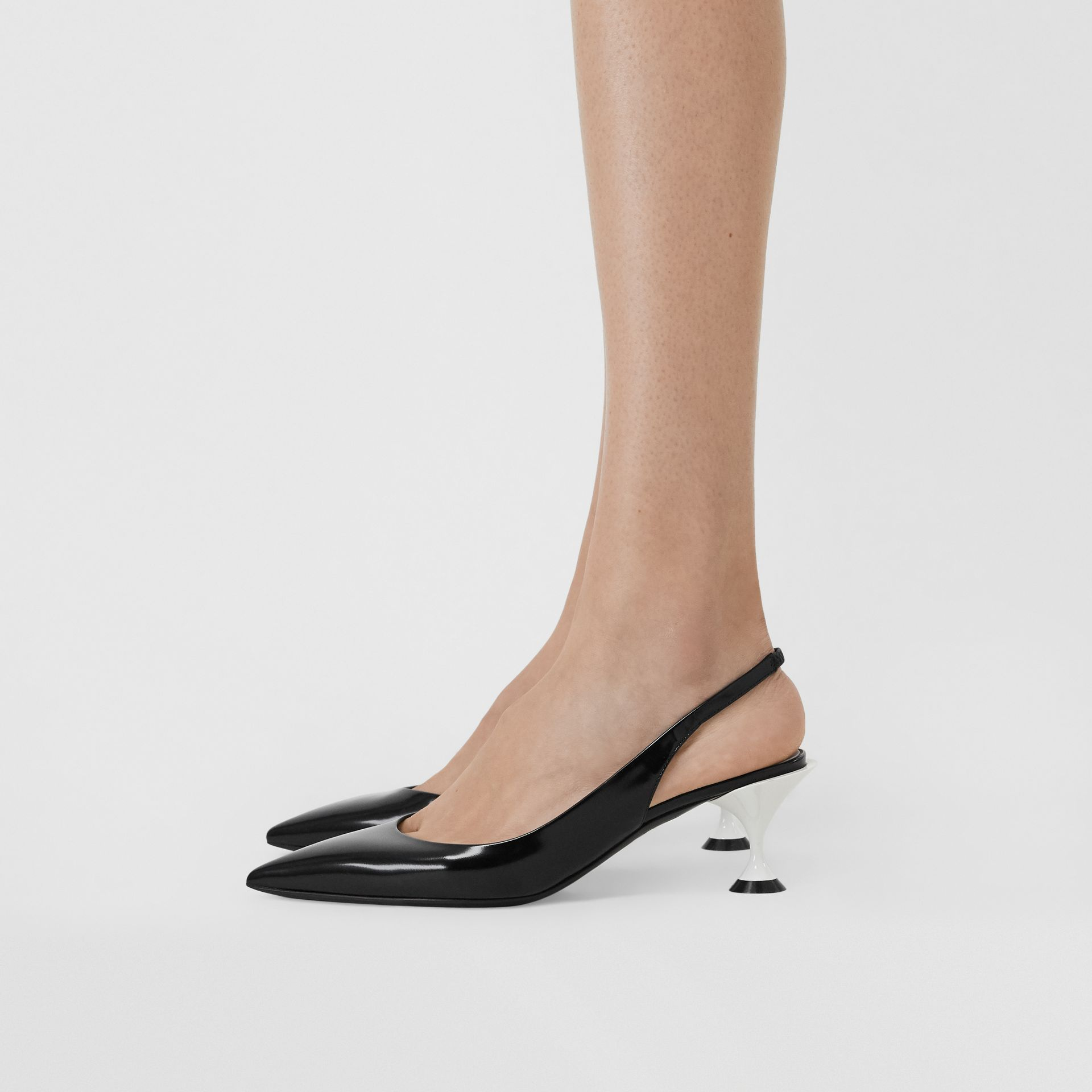 Leather Slingback Pumps in Black - Women | Burberry United States - gallery image 2