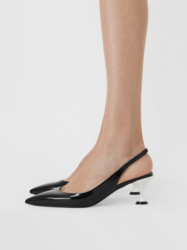 Leather Slingback Pumps in Black - Women | Burberry Canada - cell image 2