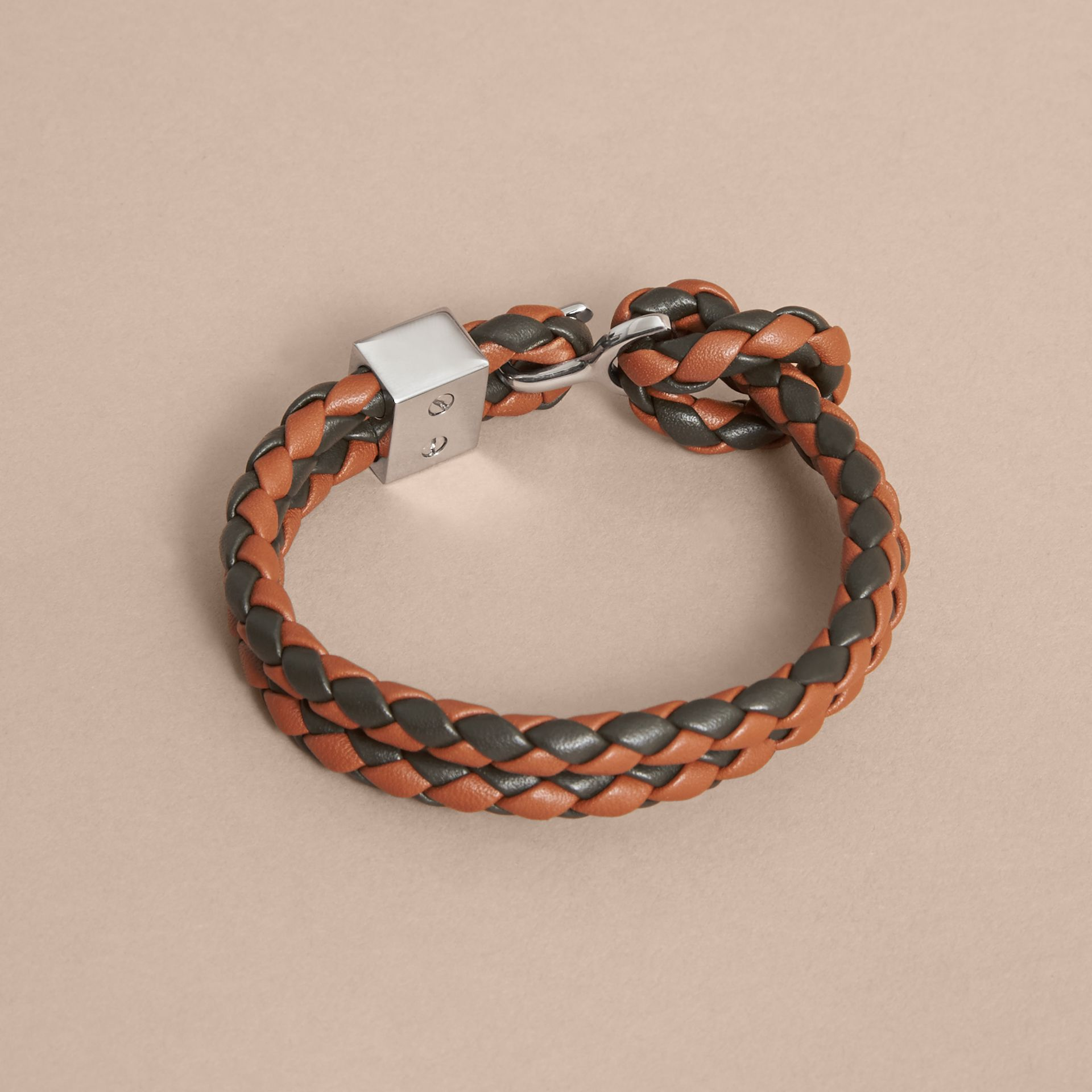 Two-tone Braided Leather Bracelet in Tan/black - Men | Burberry Australia - gallery image 3