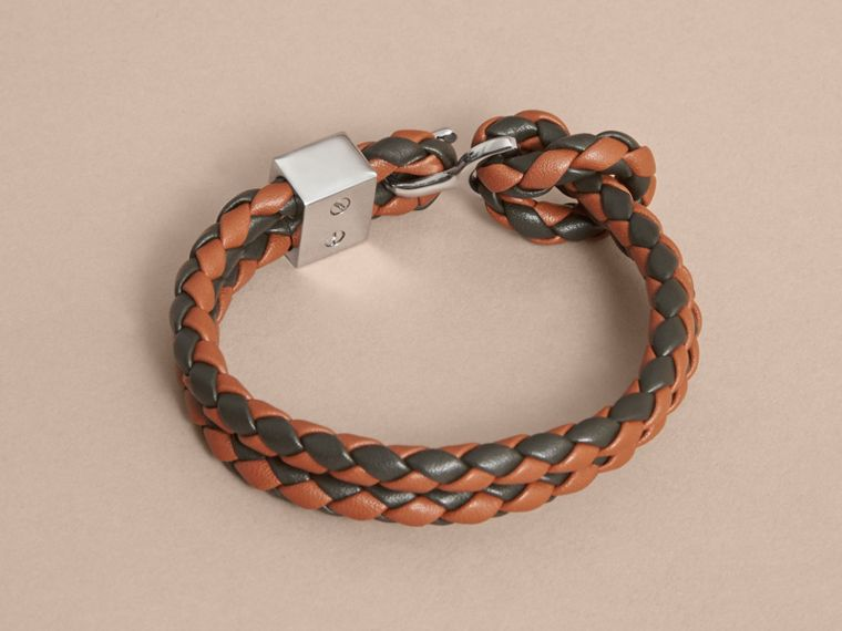 Two-tone Braided Leather Bracelet in Tan/black - Men | Burberry - cell image 2