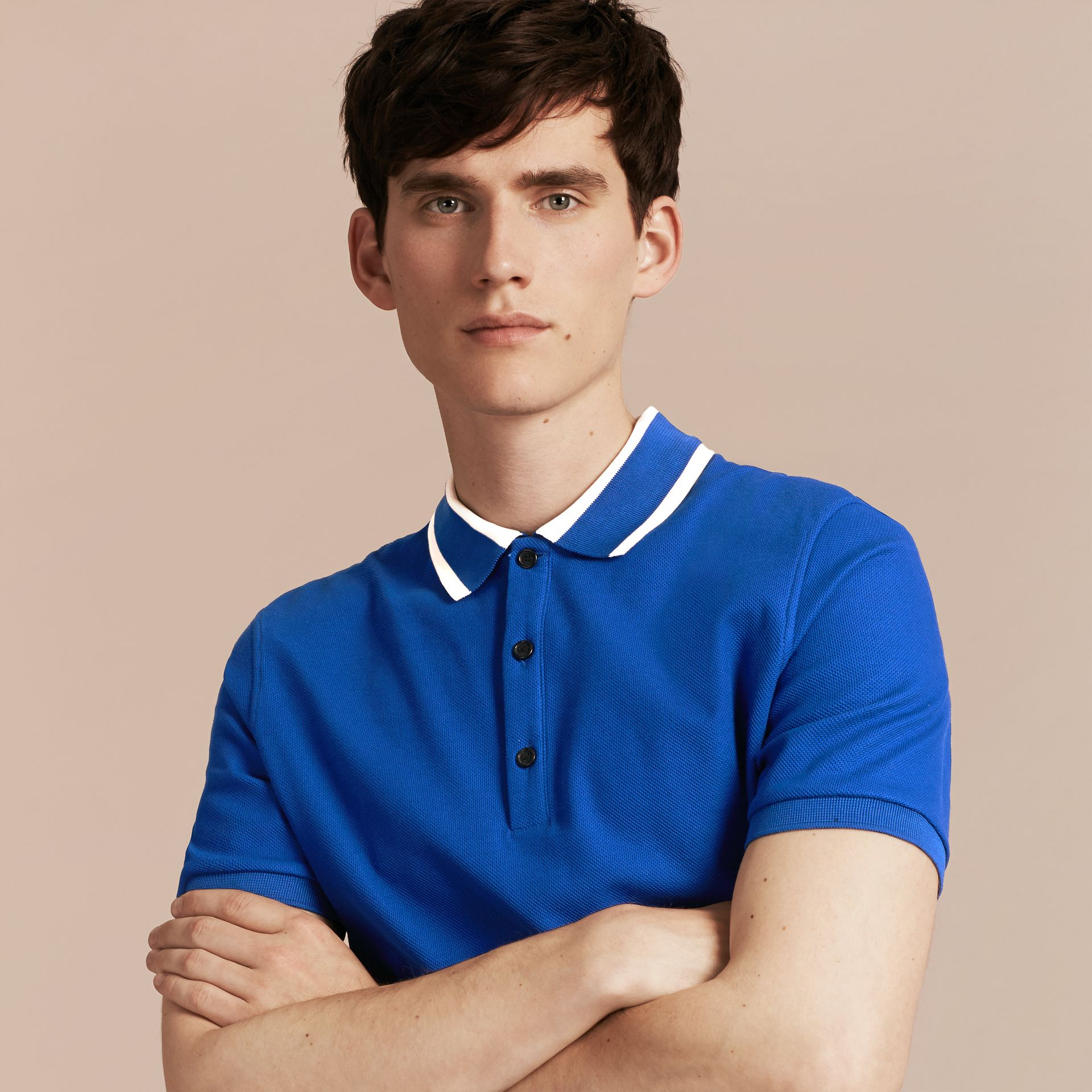 Cobalt blue Striped Collar Cotton Piqué Polo Shirt Cobalt Blue - gallery image 6