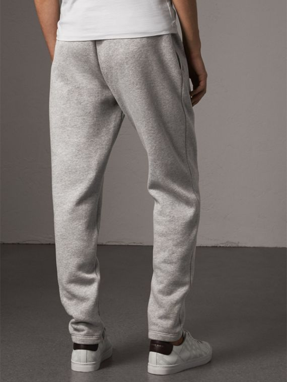 Embroidered Jersey Sweatpants in Pale Grey Melange - Men | Burberry United Kingdom - cell image 2
