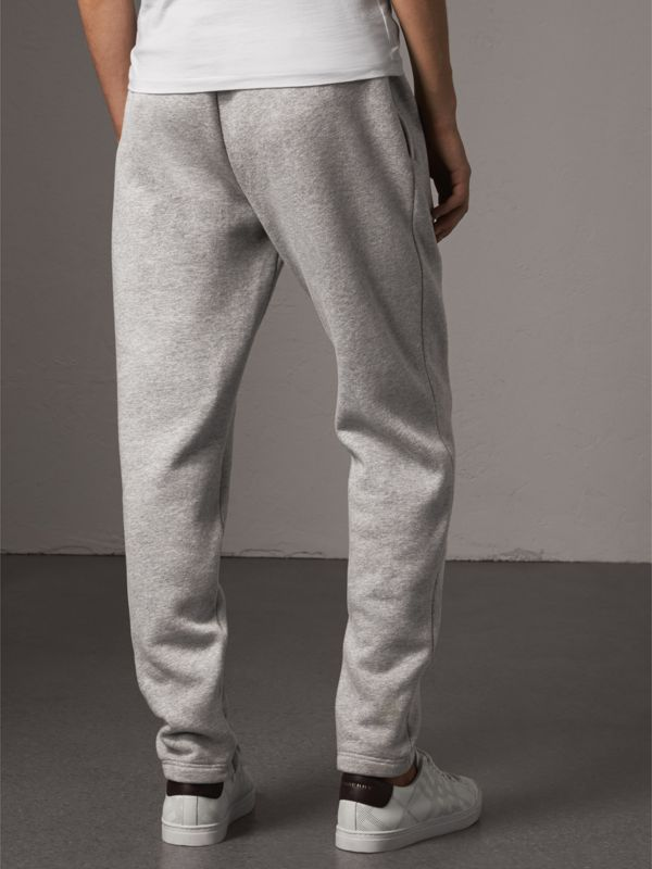 Embroidered Jersey Sweatpants in Pale Grey Melange - Men | Burberry Singapore - cell image 2