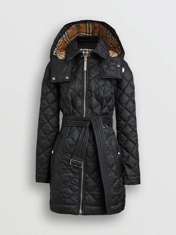 Detachable Hood Lightweight Diamond Quilted Coat in Black - Women | Burberry - cell image 3