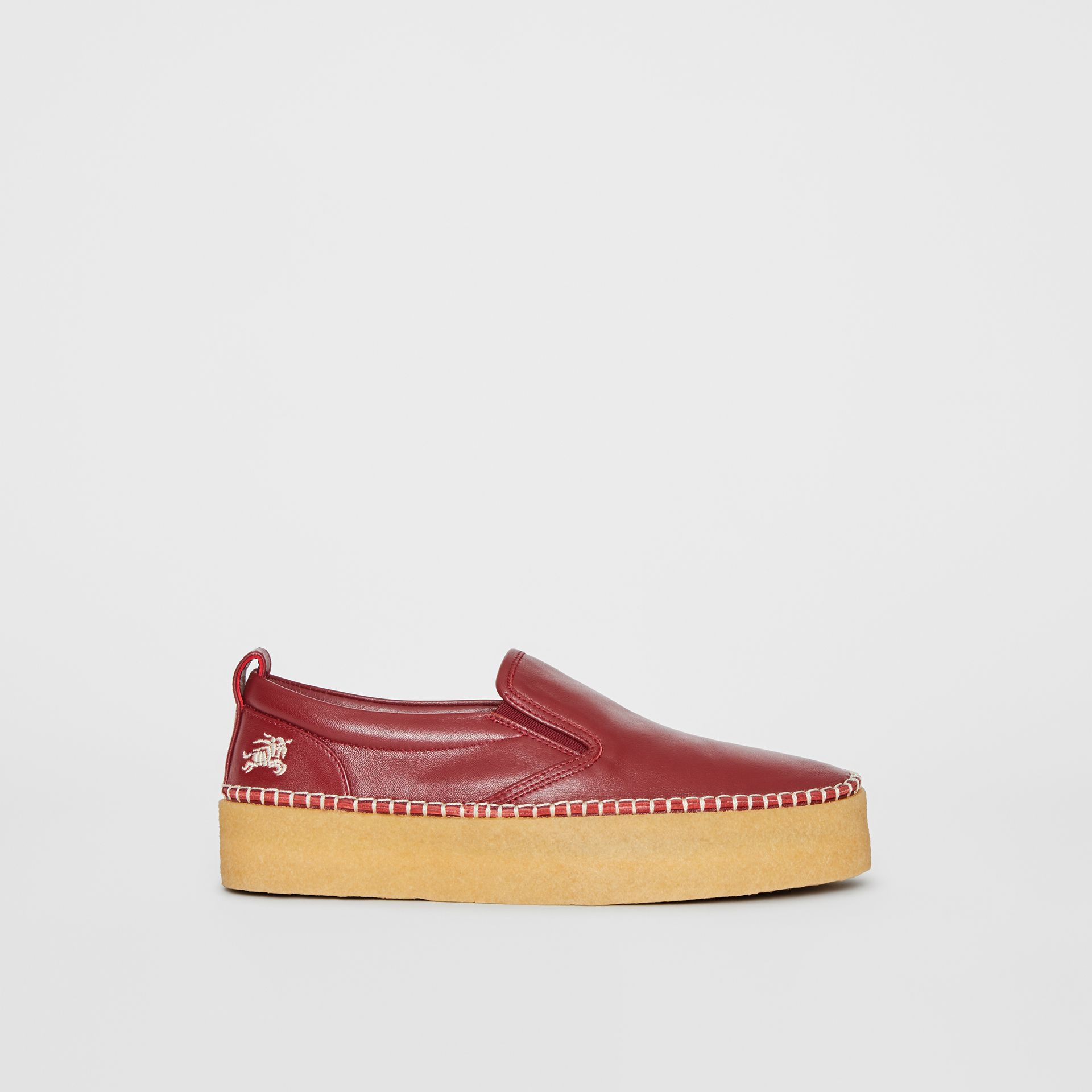 Leather Slip-on Sneakers in Bordeaux - Women | Burberry United States - gallery image 5