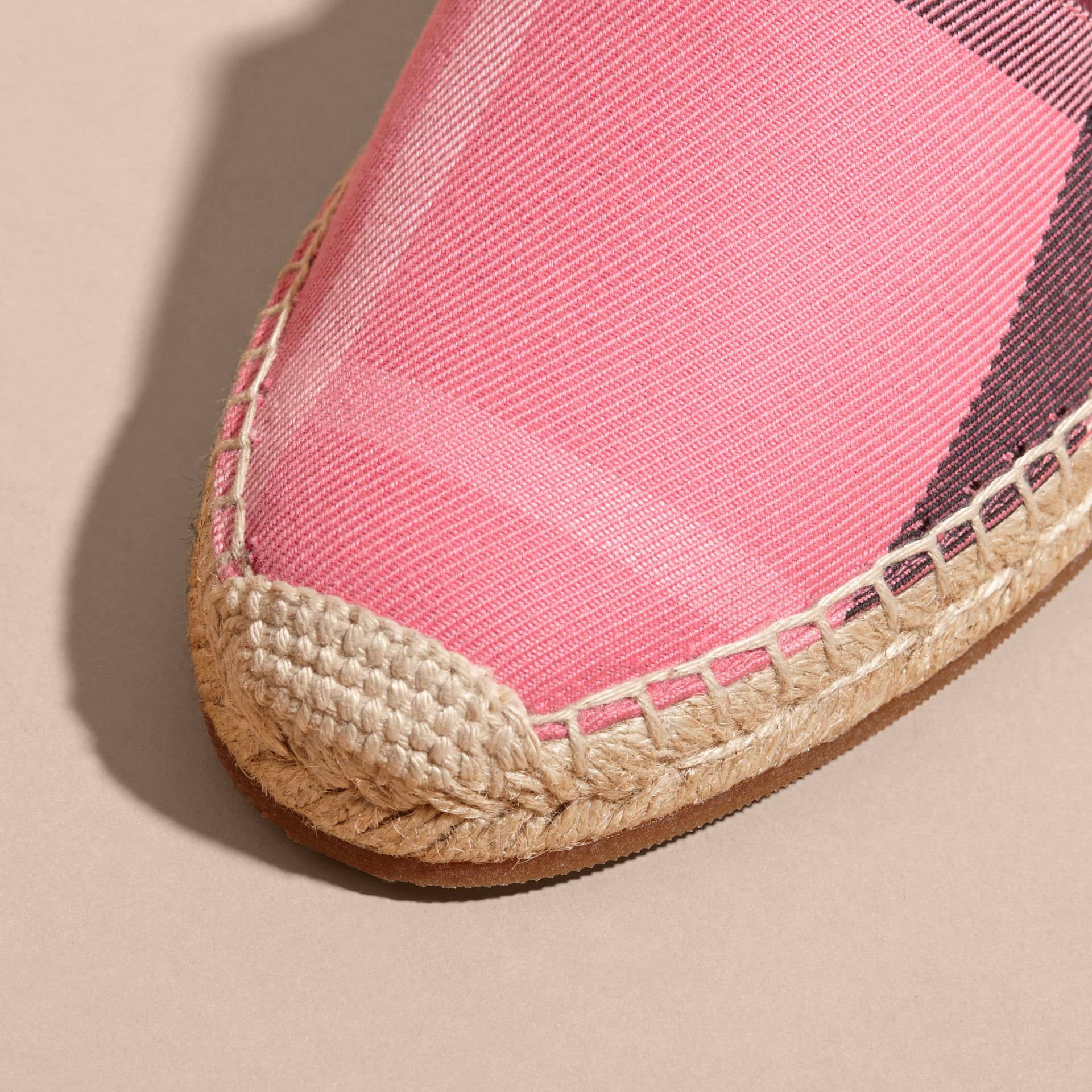 Leather Trim Canvas Check Espadrilles Rose Pink - gallery image 2
