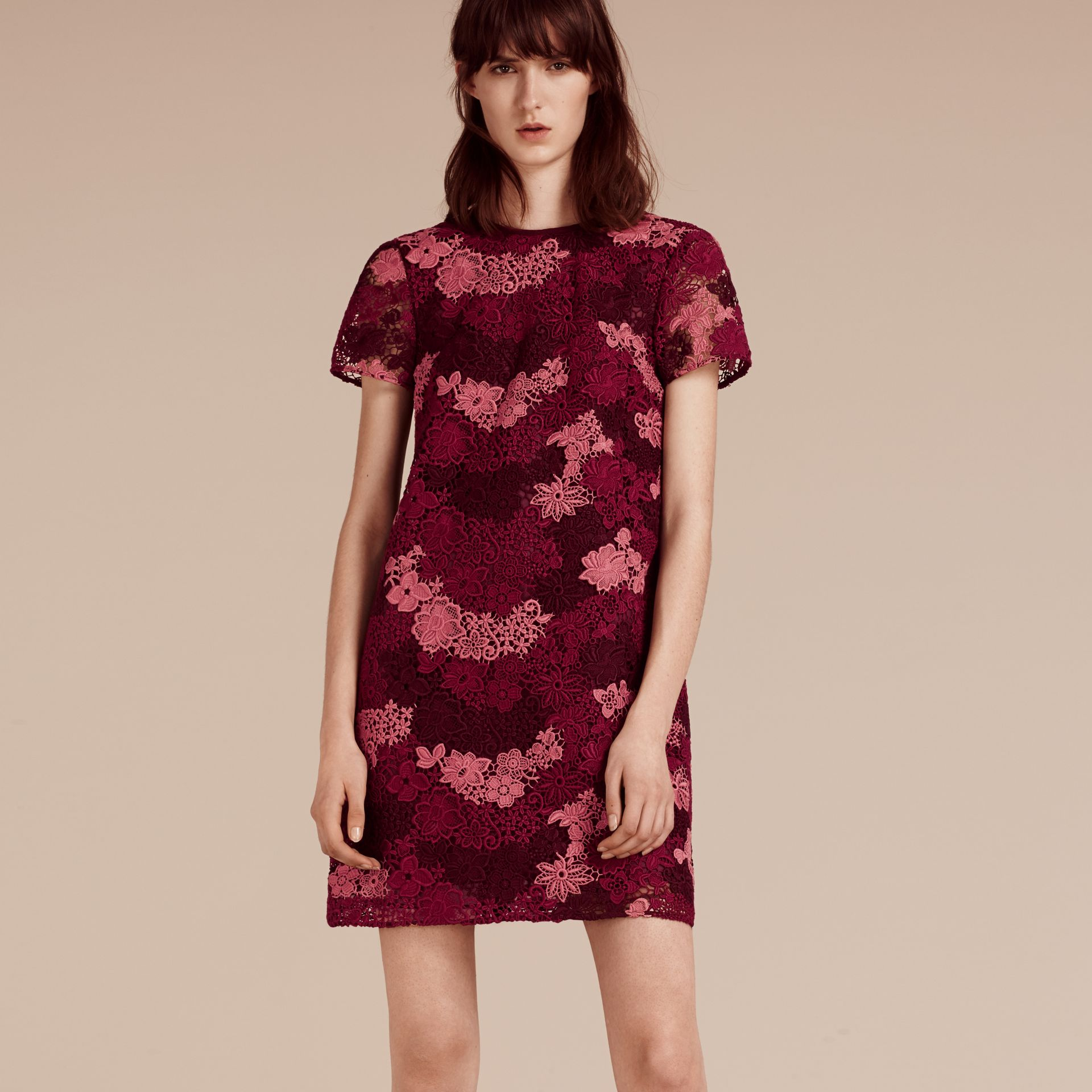 Deep claret Italian-woven Lace T-shirt Dress Deep Claret - gallery image 6