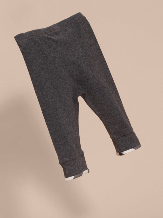Mid grey melange Check Detail Cotton Leggings Mid Grey Melange - cell image 3