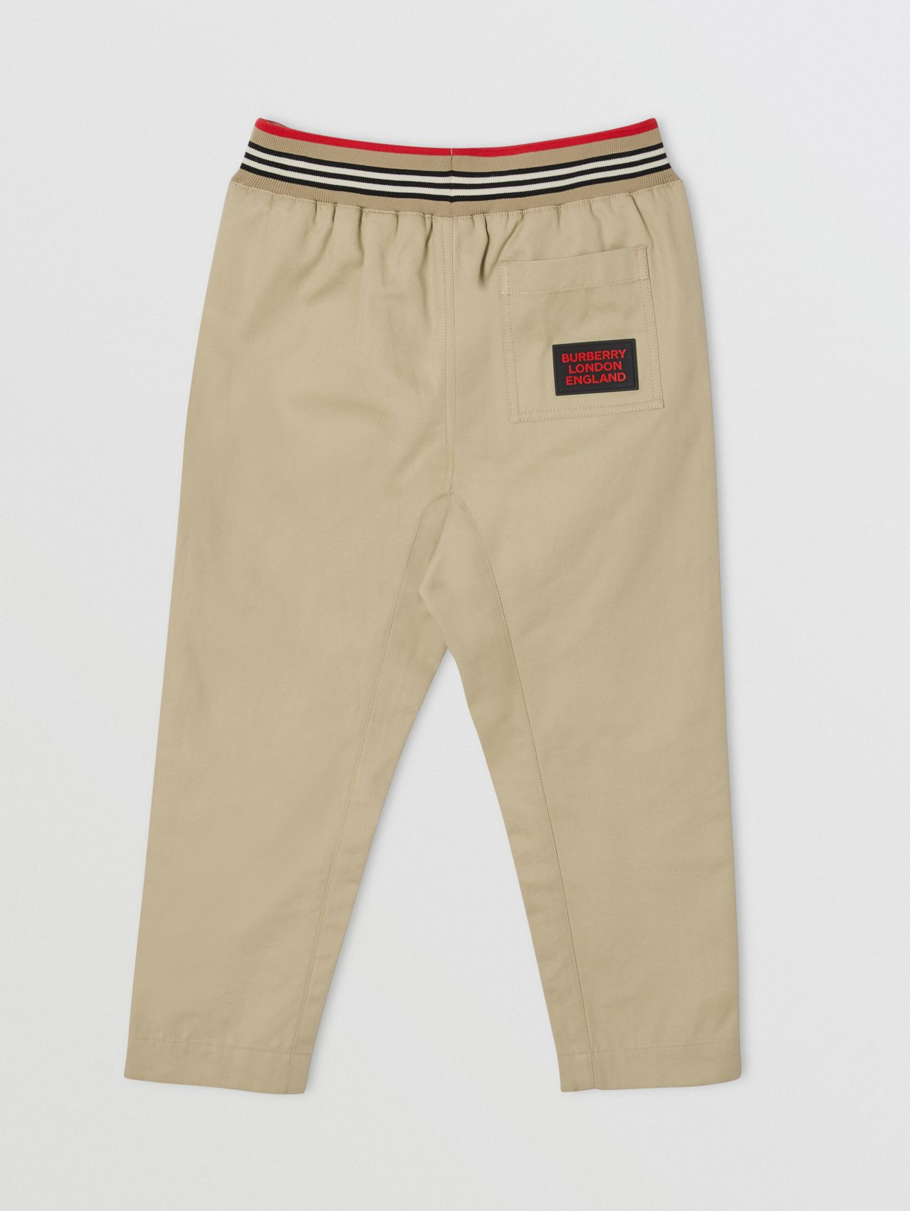 Icon Stripe Detail Cotton Twill Drawcord Trousers in Honey