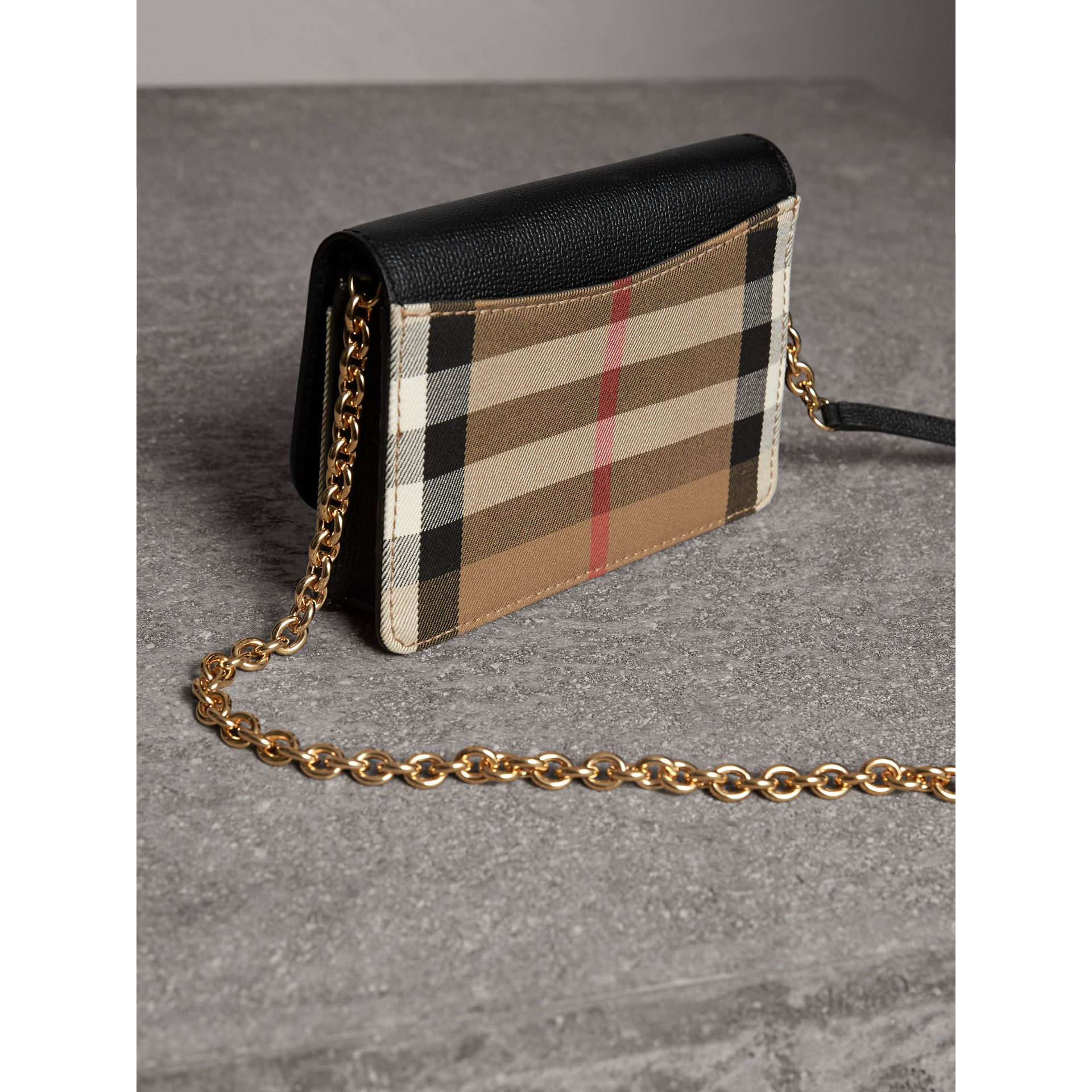 Leather and House Check Wallet with Detachable Strap in Black - Women | Burberry - gallery image 5