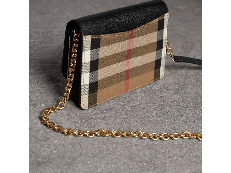 Leather and House Check Wallet with Detachable Strap in Black - Women | Burberry Australia - cell image 4