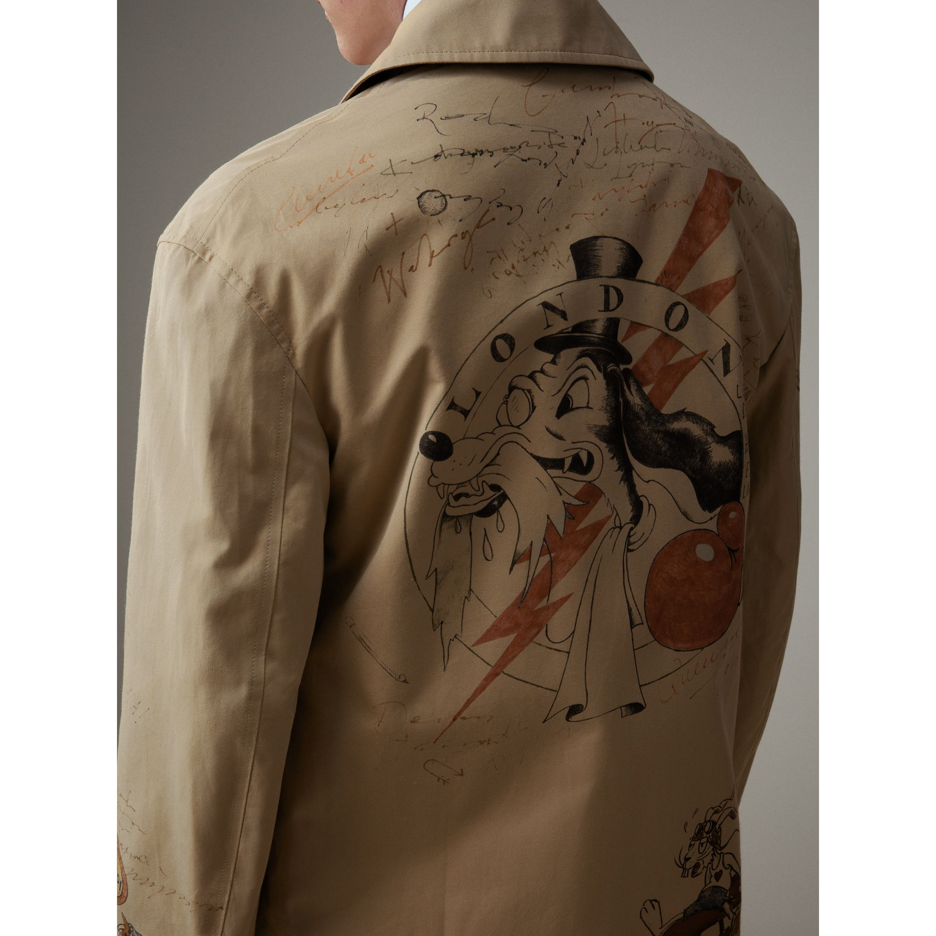 Sketch Print Tropical Gabardine Car Coat in Honey - Men | Burberry - gallery image 5