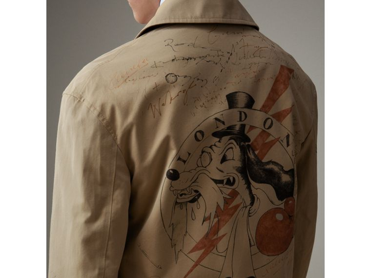 Sketch Print Tropical Gabardine Car Coat in Honey - Men | Burberry - cell image 4