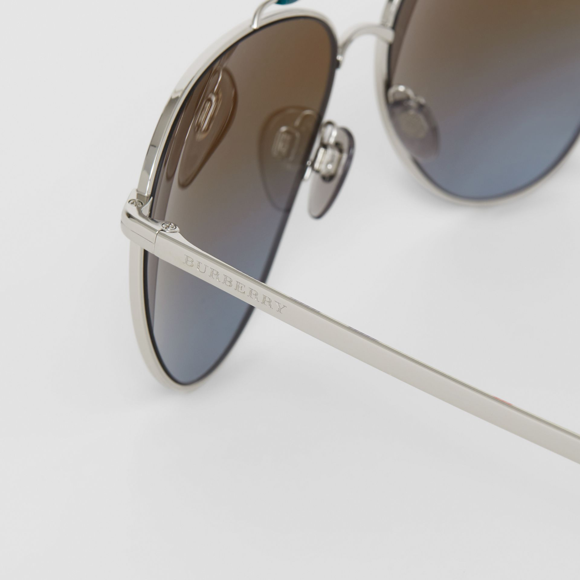 Top Bar Detail Pilot Sunglasses in Teal Blue - Men | Burberry - gallery image 1