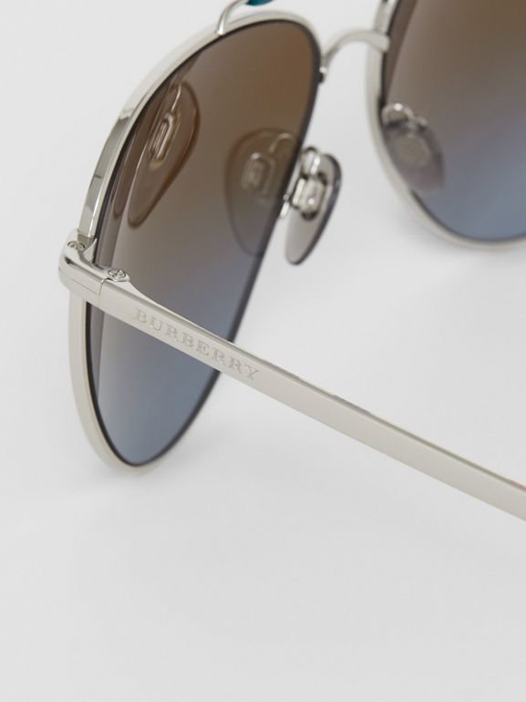 Top Bar Detail Pilot Sunglasses in Teal Blue - Men | Burberry - cell image 1