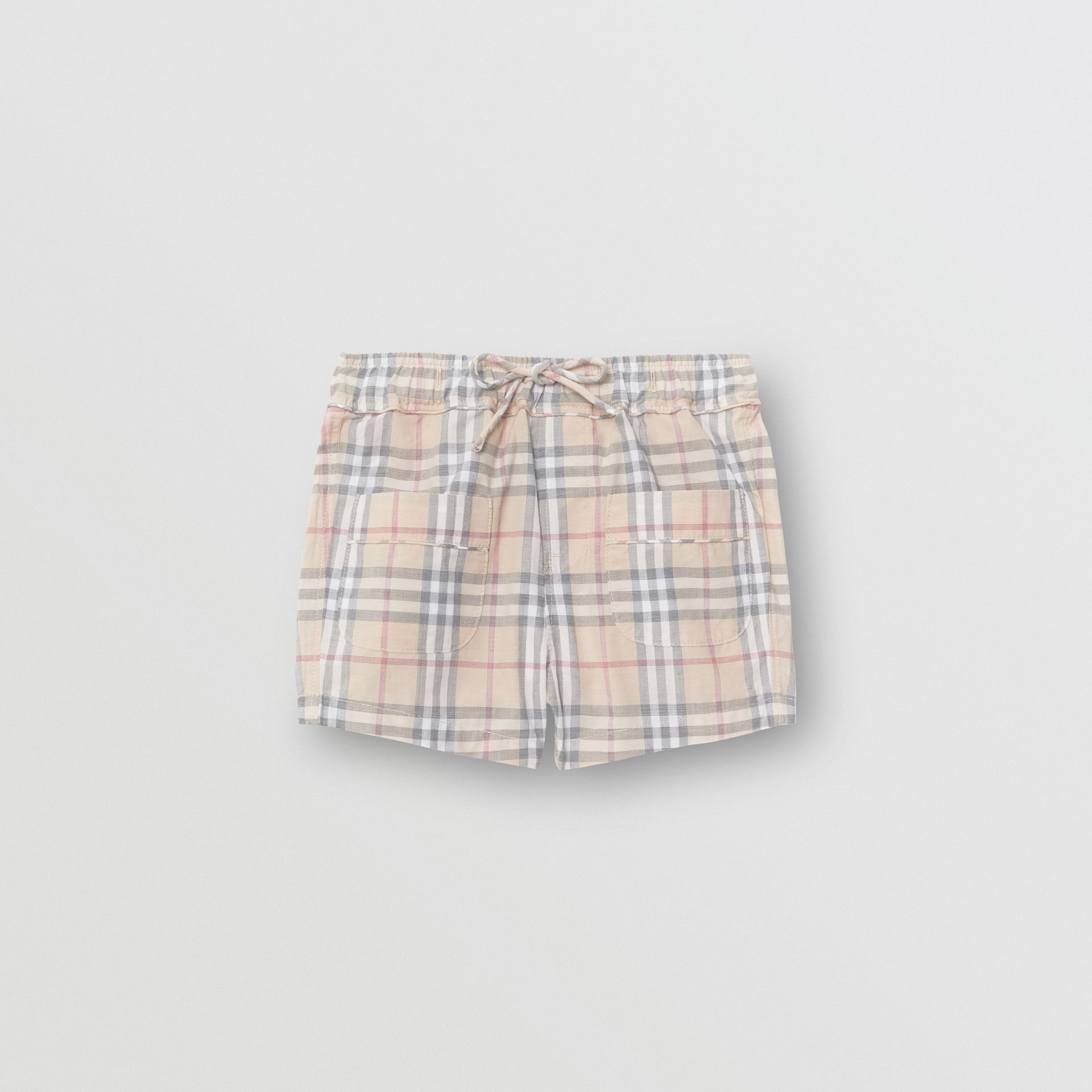 Check Cotton Shorts in Pale Stone - Children | Burberry Australia - gallery image 0