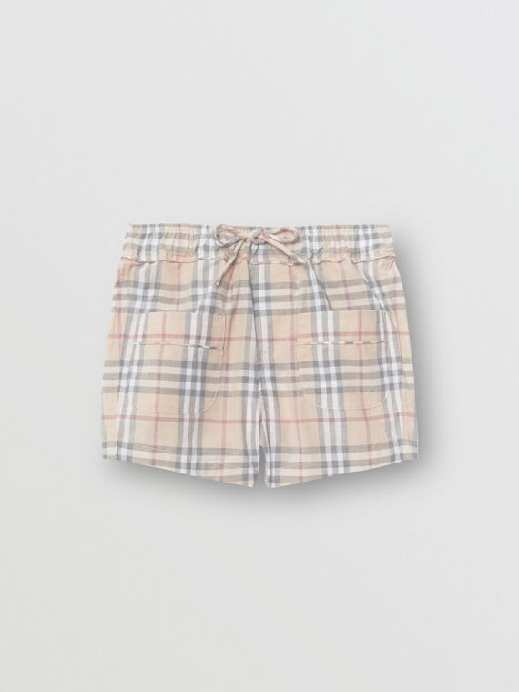 Check Cotton Shorts in Pale Stone