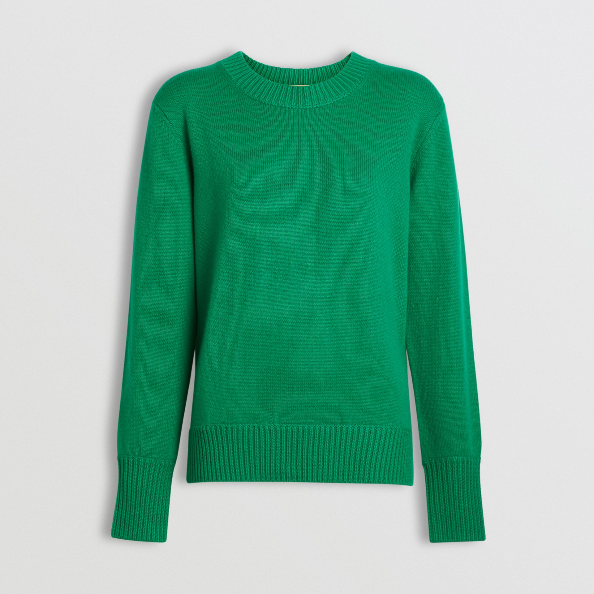 Archive Logo Appliqué Cashmere Sweater in Vibrant Green - Women | Burberry Australia - gallery image 3