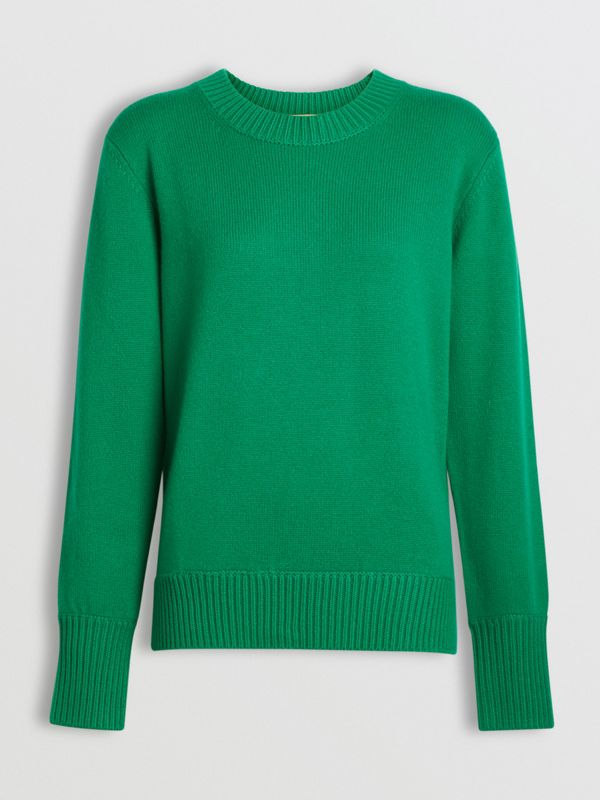 Archive Logo Appliqué Cashmere Sweater in Vibrant Green - Women | Burberry Australia - cell image 3