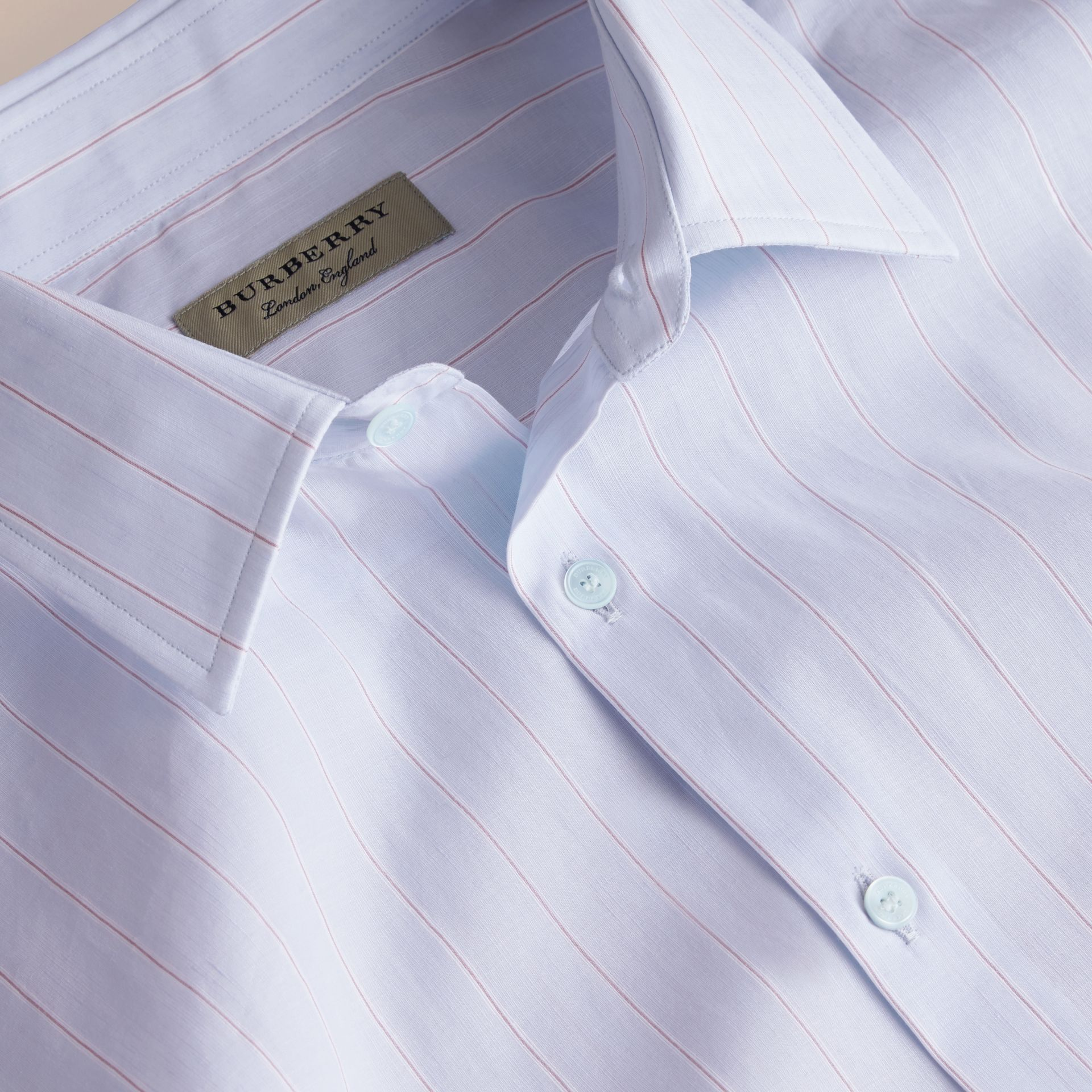 Modern Fit Cotton Linen Striped Shirt in Light Blue - Men | Burberry - gallery image 2