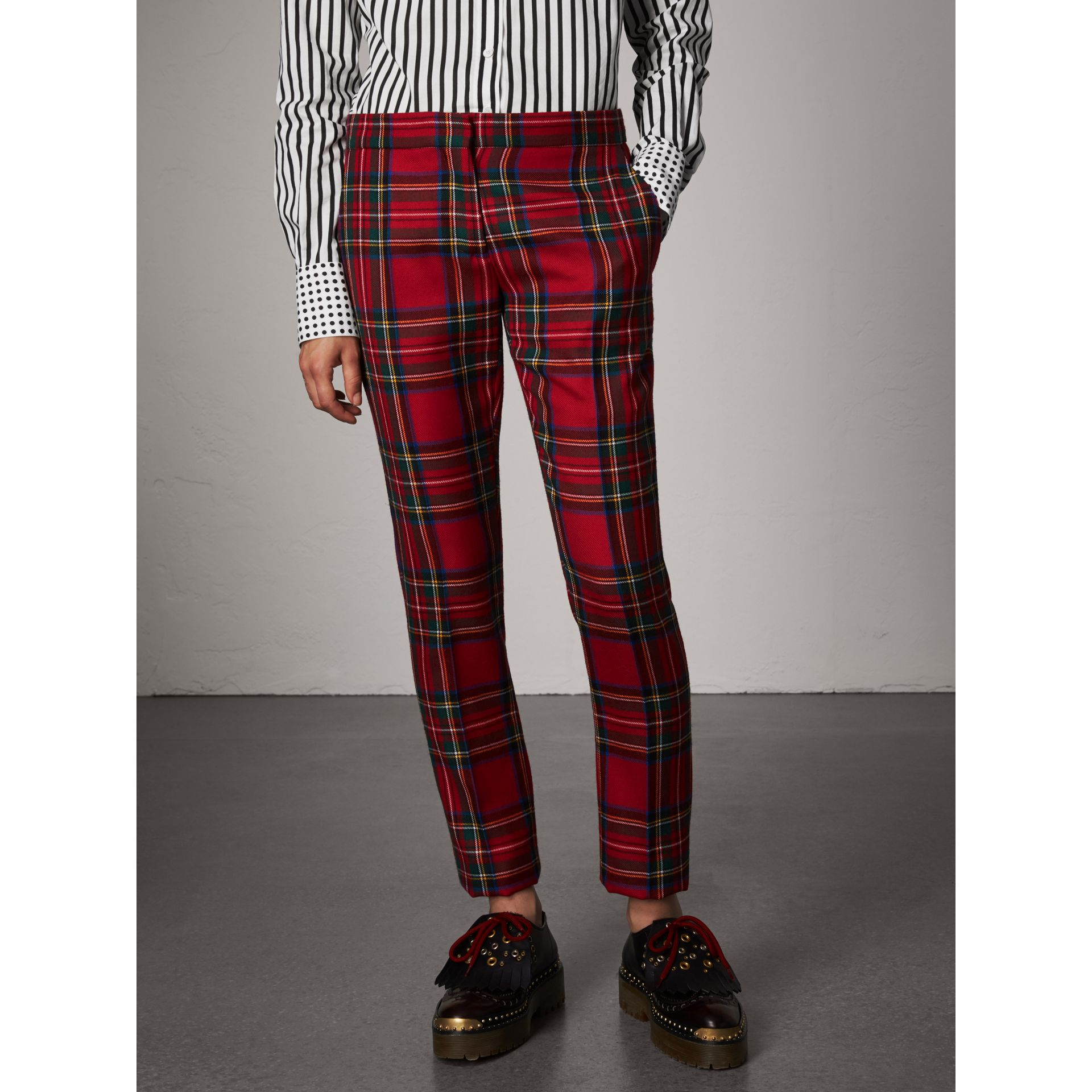 Tartan Wool Tailored Trousers in Bright Red - Women | Burberry - gallery image 4