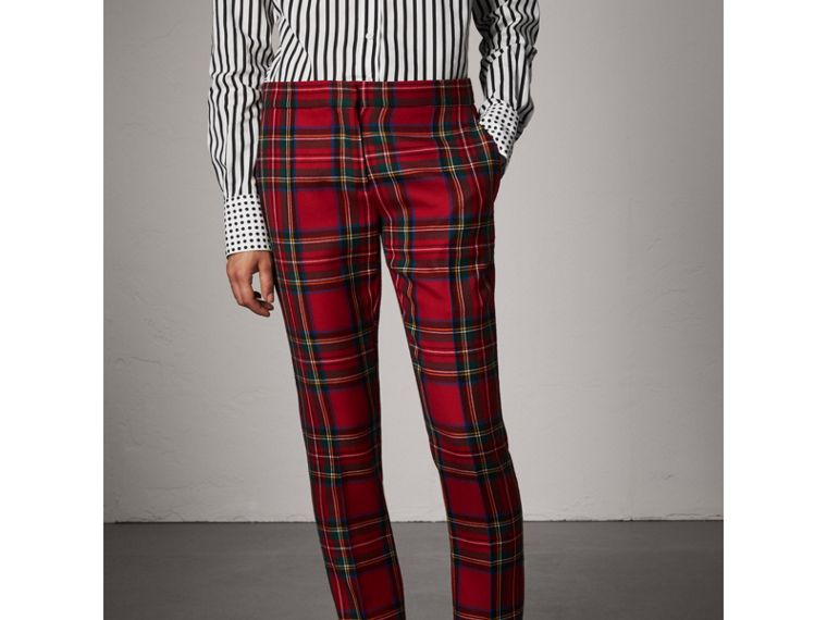 Tartan Wool Tailored Trousers in Bright Red - Women | Burberry - cell image 4