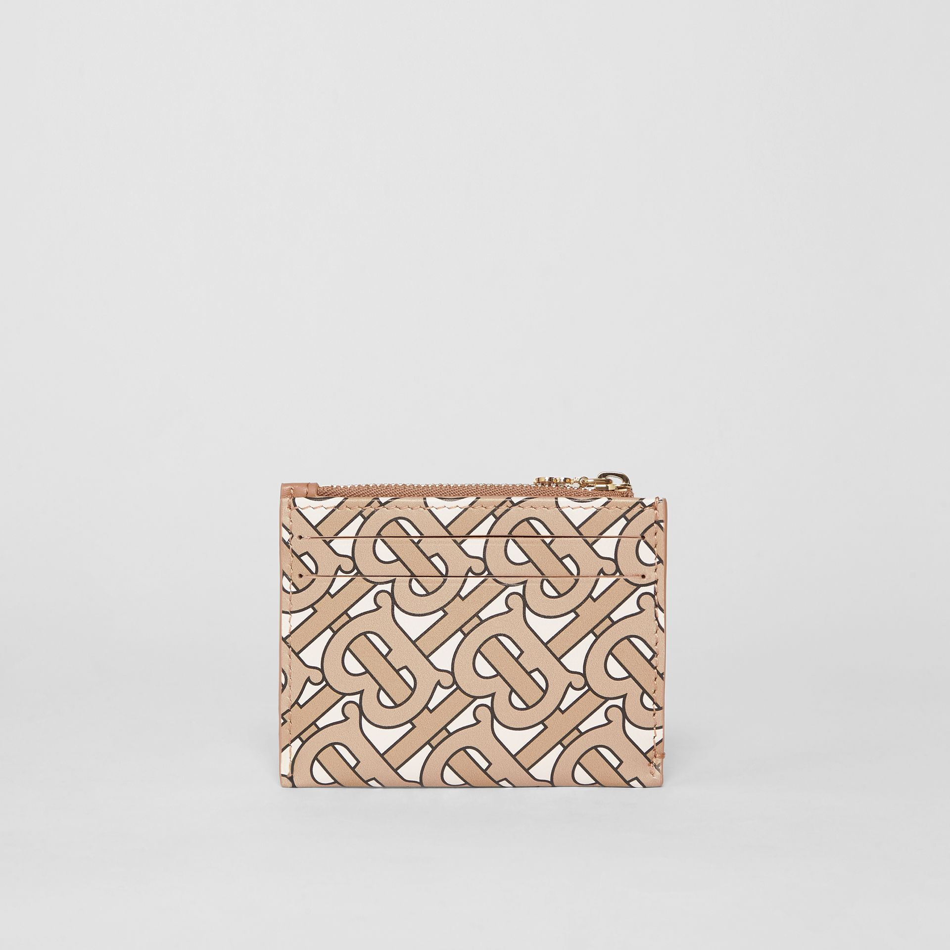 Monogram Print Leather Zip Card Case in Beige - Women | Burberry - gallery image 4