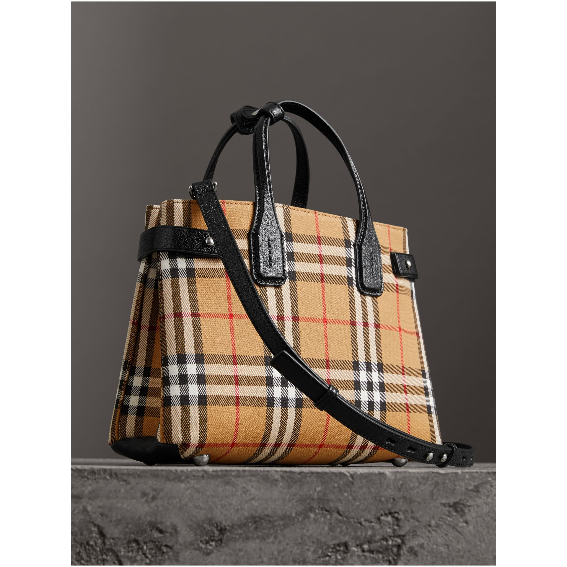 The Small Banner in Vintage Check and Leather in Black - Women | Burberry Australia - gallery image 3