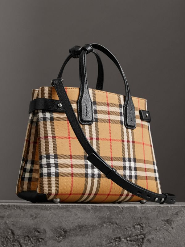 The Small Banner in Vintage Check and Leather in Black - Women | Burberry Australia - cell image 3