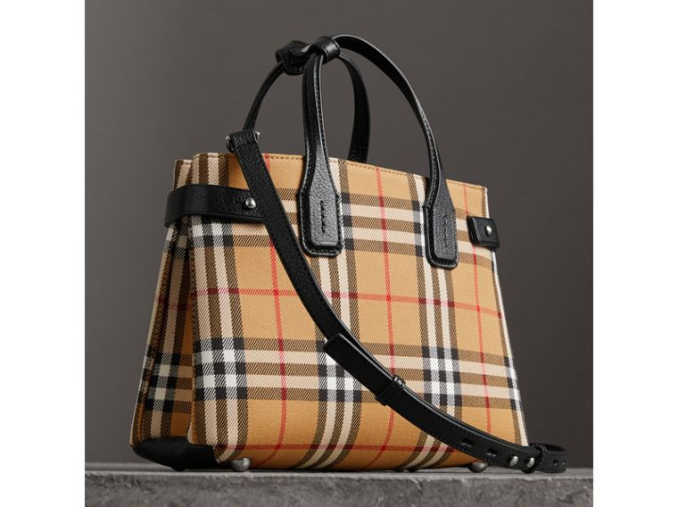 The Small Banner in Vintage Check and Leather in Black - Women | Burberry - cell image 4