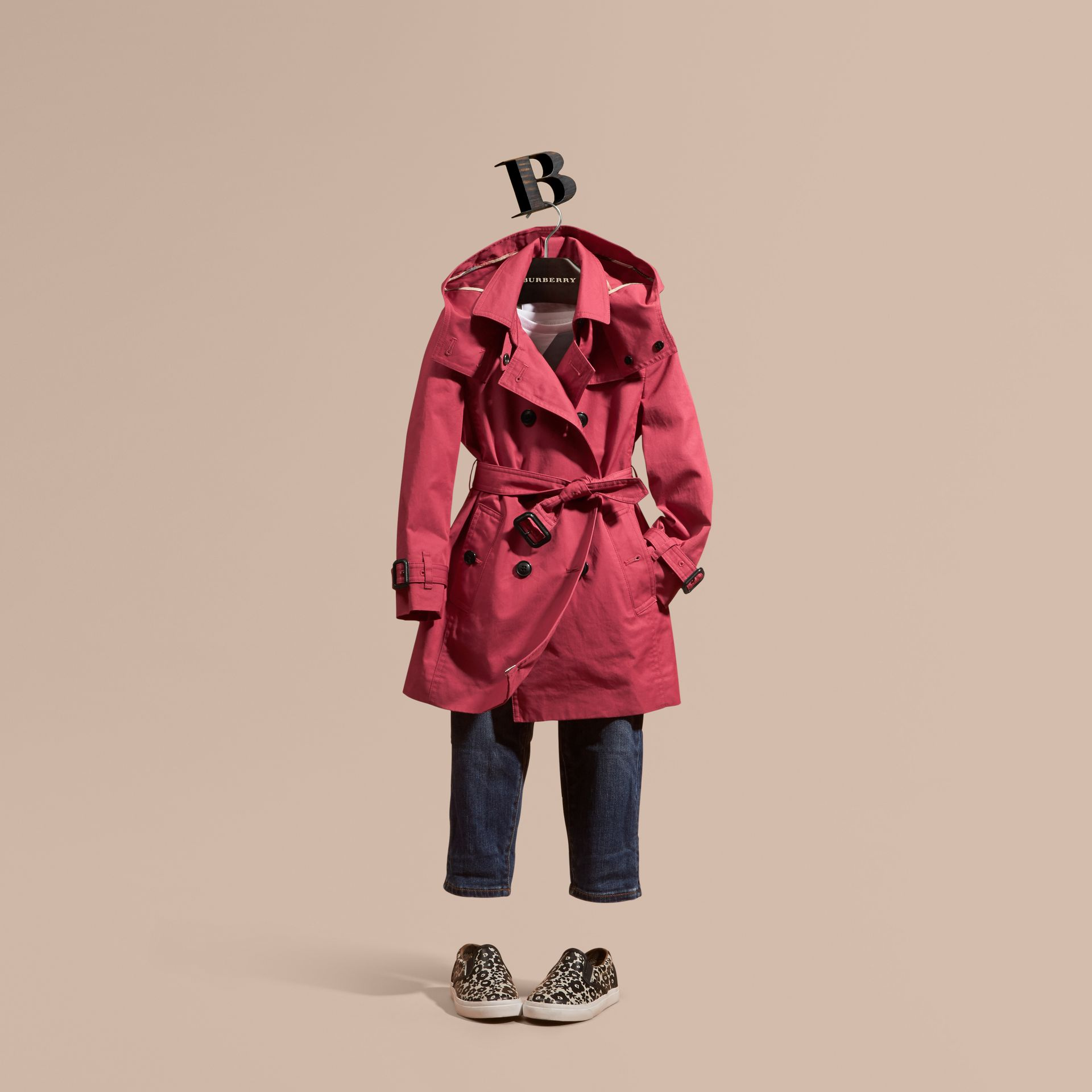 Peony rose Hooded Cotton Trench Coat - gallery image 1