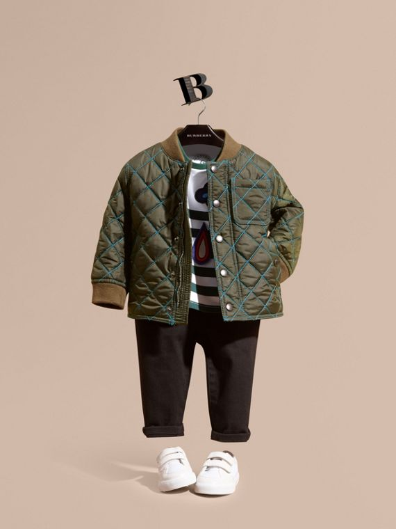 Contrast Topstitch Diamond Quilted Technical Jacket