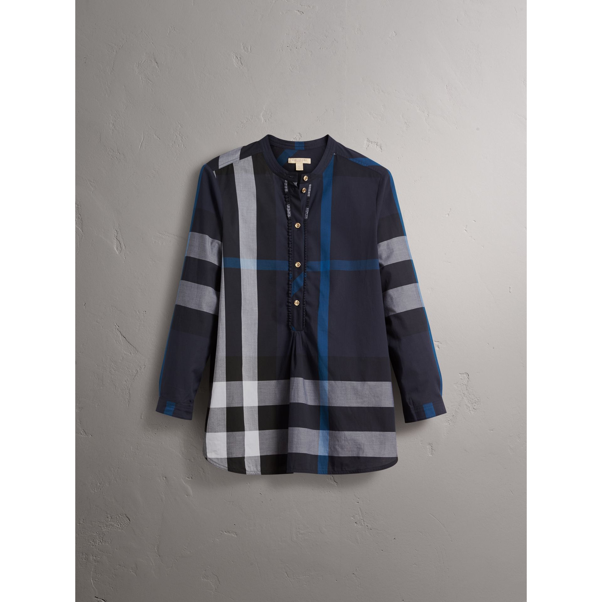 Check Grandad Collar Shirt in Navy - Women | Burberry - gallery image 3